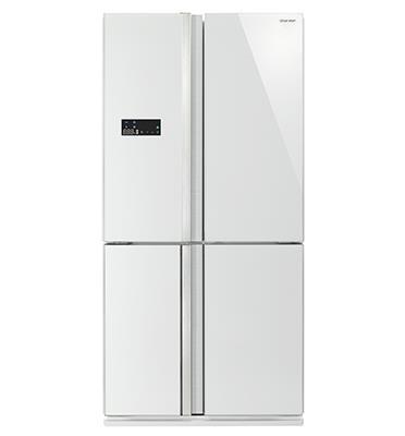 מקרר מקפיא תחתון 4 דלתות 615 ליטר NO FROST גימור זכוכית לבנה תוצרת SHARP דגם SJ-R8802