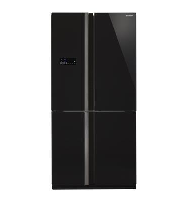 מקרר מקפיא תחתון 4 דלתות 615 ליטר NO FROST גימור זכוכית שחורה תוצרת SHARP דגם SJ-R8801
