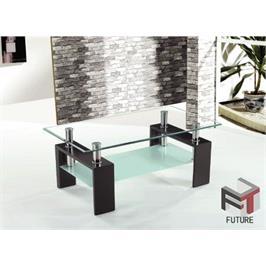 שולחן סלון מזכוכית בעל משטח הגשה מחוסמת מבית GAROX דגם CUBE