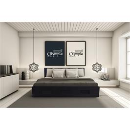 מיטה זוגית מעוצבת עשויה עץ כולל מזרן מתנה מבית אולימפיה דגם 7015 - הובלה והרכבה מתנה!