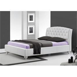מיטה זוגית מעור אמיתי רגליים מעוגלות ומעוצבות דוגמת קפיטונאז מראה מלכותי מבית GAROX דגם CAMELIA