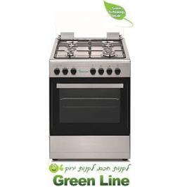 תנור בישול משולב כיריים גז 4 מבערים 5 תוכניות תוצרת Green-Line דגם GR619AKS SILVER