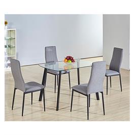 פינת אוכל מזכוכית בעיצוב איטלקי עם 4 כסאות מרופדים בד מבית GAROX דגם ROSA