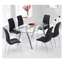פינת אוכל בעיצוב חדשני עם 6 כסאות מבית GAROX דגם DONNA