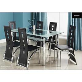 פינת אוכל מזכוכית + 6 כסאות מרהיבה ביופיה הישר מסטודיו המעצבים באיטליה מבית GAROX דגם LORETO