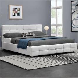מיטה זוגית 160x190 מרופדת דמוי עור עם בסיס עץ מלא בעיצוב מודרני מבית HOME DECOR דגם עומר