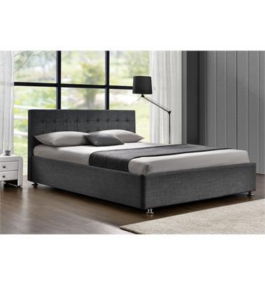 מיטה זוגית מרופדת בד עם בסיס עץ מלא רגלי ניקל בעיצוב מודרני מבית HOME DECOR דגם עופרה