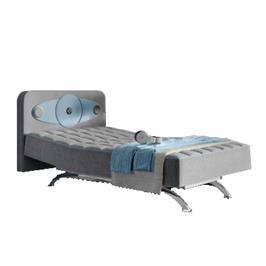 מיטת נוער מתכווננת ומעוצבת בשילוב ראש מיטה עם מערכת סראונד תוצרת AEROFLEX דגם HIPSTER
