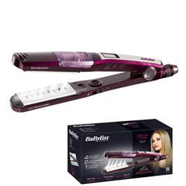 מחליק שיער ציפוי קרמי נאנו טיטניום עם אדים תוצרת BABYLISS דגם ST395E קני קבלי מסלסל מיני מתנה