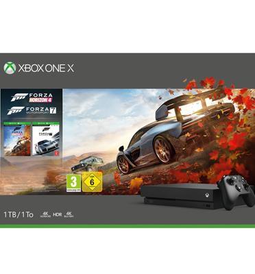 קונסולת Xbox One X 1TB בקר אלחוטי, הורדה מלאה של המשחק Forza Horizo 4 + FORZA 7
