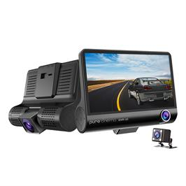 מצלמת דרך לרכב 3 עדשות צילום ביטחון לנהג איכות 1080P הקלטה אוטו' מבית PURE CINEMA דגם DVR-33 xc
