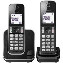 טלפון אלחוטי + שלוחה אחת  צג 1.8 אינץ תפריט בעברית צבע שחור תוצרת PANASONIC דגם KX-TGD312MBB