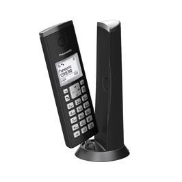 """טלפון אלחוטי מעוצב  1.5"""" מסך LCD יותר מ12 שפות  תוצרת PANASONIC דגם KX-TGK210MB/W"""