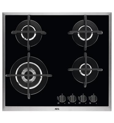 """כיריים גז זכוכית 60 ס""""מ 4 להבות עם מסגרת נירוסטה PURE FLAT תוצרת AEG דגם HG694550XB"""
