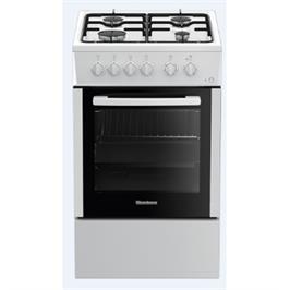 תנור אפייה צר 55 ליטר משולב כיריים 4 מבערים 6 תוכניות צבע לבן תוצרת BLOMBERG דגם HGS9020