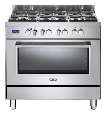 תנור אפייה משולב כיריים מפואר 6 להבות 8 תוכניות לאפיה גימור נירוסטה תוצרת DELONGHI דגם NDS981X