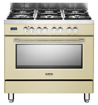 תנור אפייה משולב כיריים מפואר 6 להבות 8 תוכניות לאפיה גימור וניל תוצרת DELONGHI דגם NDS981VN