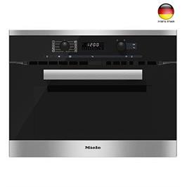 """תנור בנוי 45 ס""""מ משולב מיקרוגל לבישול ואפייה עם טיימר צבע נירוסטה תוצרת MIELE דגם H6200BM"""