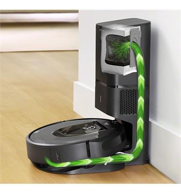 שואב אבק רובטי דגם מהפכני בעל מערכת אוטומטית לסילוק פסולת תוצרת IROBOT דגם  Roomba i7 plus