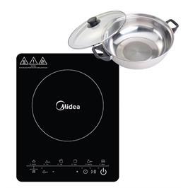 כיריים אינדוקציה מוקד בישול אחד + סיר תואם לאינדוקציה מתנה תוצרת MIDEA דגם MCRTS2160
