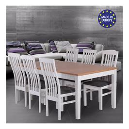 פינת אוכל נפתחת 1.8-2.4 מ' מעץ מלא משולב כוללת שולחן ו-6 כסאות תוצרת HOME DECOR דגם פראג