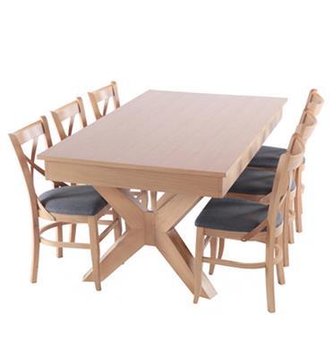 פינת אוכל מפוארת מעץ נפתחת 1.8-3.4 מ' כולל 6 כסאות תוצרת HOME DECOR דגם אופיר