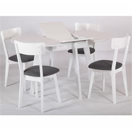 פינת אוכל עגולה נפתחת מעץ מלא משולב כוללת שולחן ו-4 כסאות מרופדים HOME DECOR דגם ואנס לבן