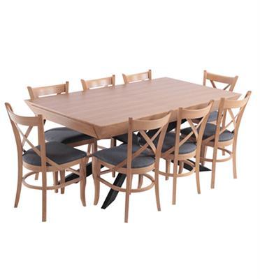 פינת אוכל מפוארת מעץ נפתחת 1.8-3.4 מ' כולל 6 כסאות עם רגל מתכת מבית HOME DECOR דגם ארבל