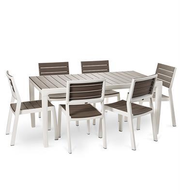 """יחידת ריהוט לגן יפה וחזקה שולחן ו-6 כסאות עם משענת ידיים מבית כתר פלסטיק בע""""מ דגם הרמוני"""