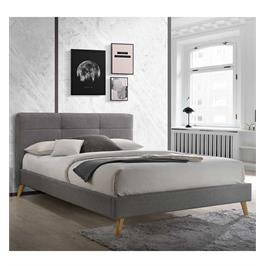 מיטה זוגית מעוצבת בריפוד בד עם בסיס עץ מלא תוצרת HOME DECOR דגם טנסי
