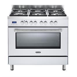 תנור אפייה משולב כיריים מפואר 6 להבות 8 תוכניות לאפיה גימור לבן תוצרת DELONGHI דגם NDS981W