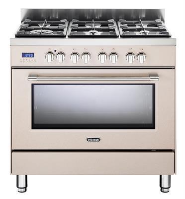 תנור אפייה משולב כיריים מפואר 6 להבות 8 תוכניות לאפיה גימור אבן חול תוצרת DELONGHI דגם NDS981AV