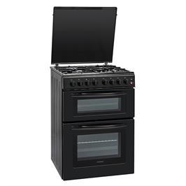 """תנור אפייה 60 ס""""מ דו תאי משולב גז 4 מבערים הכשר בד""""ץ העדה החרדית שחור תוצרת LENCO דגם LDOV60"""