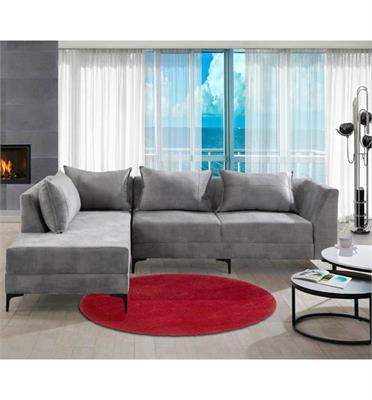 מערכת ישיבה פינתית מרהיבה בעיצוב מודרני מבד איכותי שילדת הסלון מעץ מלא תוצרת LEONARDO דגם מלאני