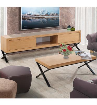 סט מזנון ושולחן דגם אופיר בשילוב MDF מצופה פורניר ורגלי מתכת גבוהות תוצרת LEONARDO דגם אופיר