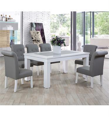 פינת אוכל מאסיבית ו 6 כיסאות עשויה מעץ משולב פורניר וגימור אפוקסי לבן תוצרת LEONARDO דגם אלסקה