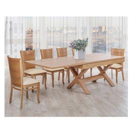 פינת אוכל מלבנית מעץ מלא ו 6 כיסאות מעץ מלא עם ריפוד שמנת איכותית תוצרת LEONARDO דגם ברוקלין