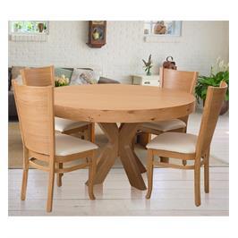 פינת אוכל עגולה מעץ מלא ו-4 כיסאות מעץ מלא עם ריפוד דמוי עור איכותי תוצרת LEONARDO דגם אוליביה