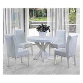 פינת אוכל עגולה חזקה ו4 כיסאות מעץ מלא עם ריפוד דמוי עור איכותי תוצרת LEONARDO דגם לונה