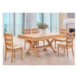 פינת אוכל מלבנית מרשימה מעץ ו 6 כיסאות מעץ מלא תוצרת LEONARDO דגם קווינס