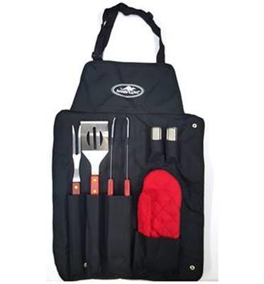 סט 5 כלים מושלם לברבקיו הכולל סינר כפפה מזלג גדול מחית ומלקחיים מבית Australia Chef!
