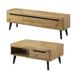 סט מזנון ושולחן לחדר הסלון מעוצבים בגימור מודרני תוצרת אירופה מבית HOME DECOR דגם ארטיס