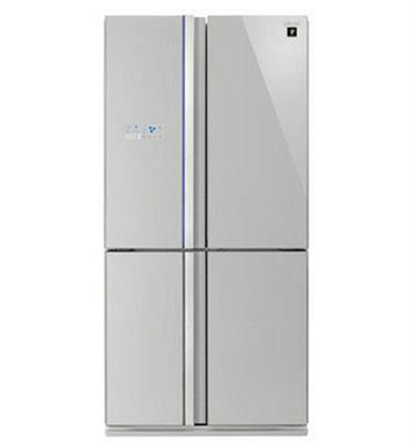 מקרר 4 דלתות 610 ליטר גימור זכוכית כסופה מסדרת C-Pro תוצרת SHARP דגם SJR8910