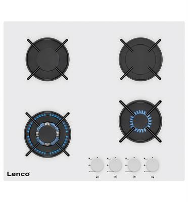 """כיריים גז 60 ס""""מ זכוכית 4 מבערי גז גימור לבן תוצרת LENCO דגם LGH6408WH"""