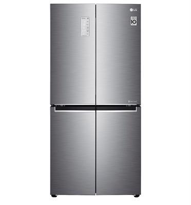 מקרר 4 דלתות מקפיא תחתון NO FROST נפח 464 נטו גימור נירוסטה מוברשת תוצרת LG דגם GRB608S