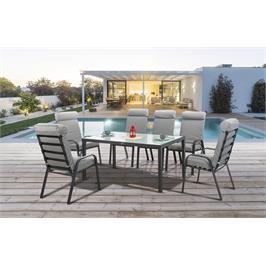 שולחן אלומיניום מפואר ו- 6 כסאות מרופדים מאלומיניום למרפסת מבית AUSTRALIA CAMP דגם Vera