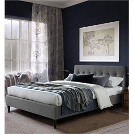 מיטת זוגית מעוצבת 160x190 בריפוד בד עם רגלי עץ מלא מבית HOME DECOR דגם פוני 160