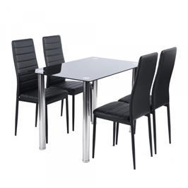 פינת אוכל מודרנית זכוכית מחוסמת כוללת שולחן ו- 4 כסאות מבית Homax דגם וניס 4