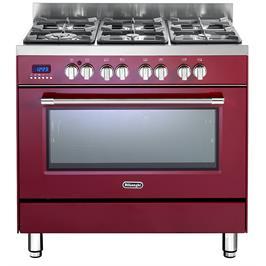 תנור אפייה משולב כיריים מפואר 6 להבות 8 תוכניות לאפיה בגימור אדום תוצרת DELONGHI דגם NDS981R