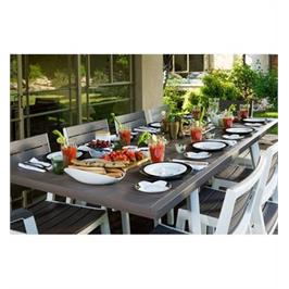 """סט שולחן הרמוני מתארך ו-8 כיסאות עם מסעדי ידיים מבית כתר פלסטיק בע""""מ"""